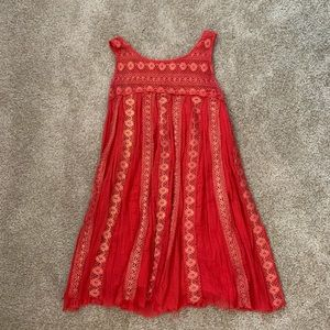 FP One Red Lace Gold Metallic Dress | Size S/P
